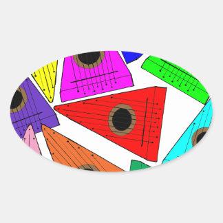 rainbow psaltery oval sticker