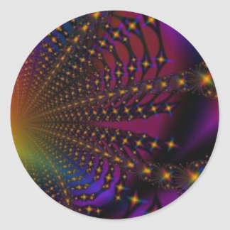 Rainbow Psyched Fractal Round Stickers