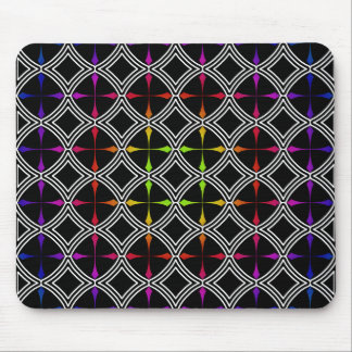 Rainbow Psychedelic Cross Circle Geometric Mouse Pad