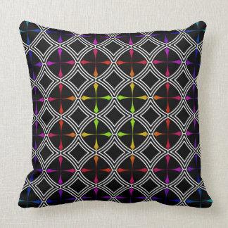 Rainbow Psychedelic Cross Circle Geometric Throw Pillows