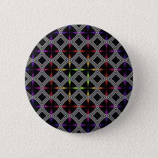 Rainbow Psychedelic Cross Circle Geometric Pinback Button