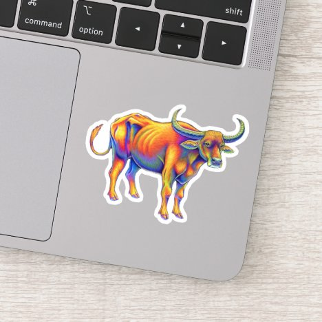 Rainbow Psychedelic Ox Cattle Bull Vinyl Sticker