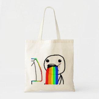 Rainbow Puke Comic Face Budget Tote Bag