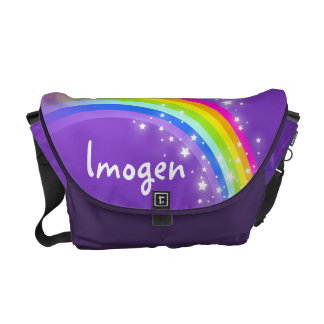 Rainbow purple colorful personalized bag courier bags