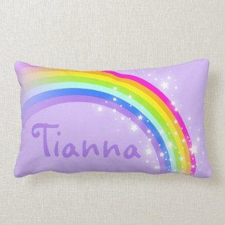 Rainbow purple girls add your name lumber pillow