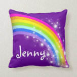 Rainbow Purple Girls Name Jenny Cushion Pillow at Zazzle