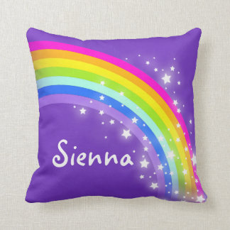 "rainbow purple pink - girls ""your name"" pillow"