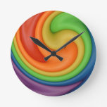 Rainbow Putty Swirl Candy Colors Round Wall Clock
