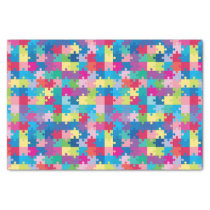 Rainbow Puzzle Pattern Autism Awareness Tissue Paper