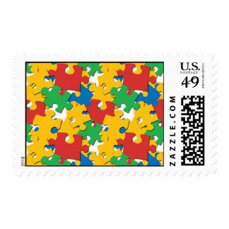 Rainbow Puzzle Pieces Postage Stamps