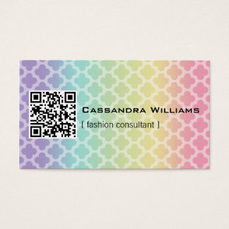 Rainbow Quatrefoil QR CODE Business Cards
