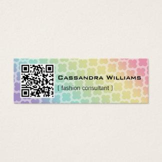 Rainbow Quatrefoil QR CODE Mini Business Cards