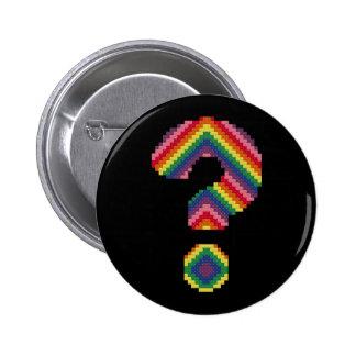 Rainbow Question Mark Pinback Buttons