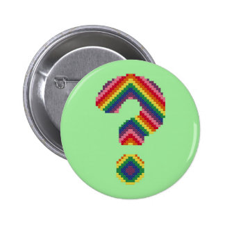Rainbow Question Mark Pinback Button