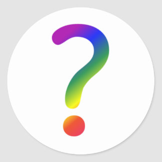 Rainbow question mark classic round sticker
