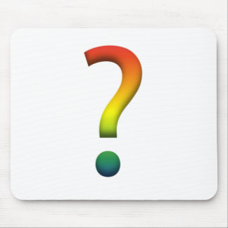 Rainbow question mark mouse pad