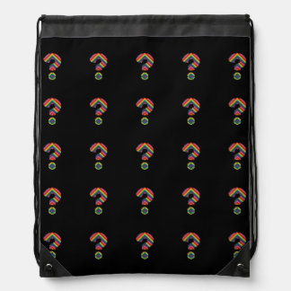 Rainbow Question Mark Drawstring Backpack