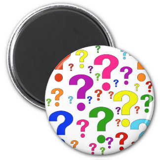 Rainbow Question Marks 2 Inch Round Magnet