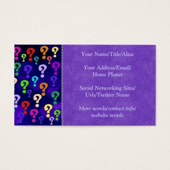 Rainbow Question Marks Business Card