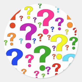 Rainbow Question Marks Classic Round Sticker
