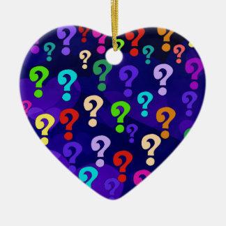 Rainbow Question Marks Double-Sided Heart Ceramic Christmas Ornament