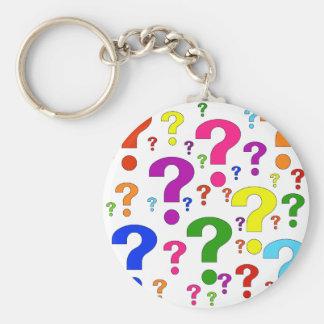 Rainbow Question Marks Basic Round Button Keychain