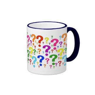 Rainbow Question Marks Ringer Coffee Mug