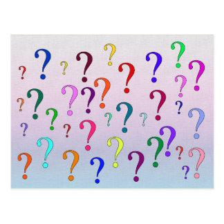 Rainbow Question Marks Postcard