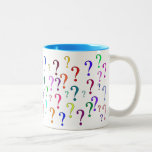 Rainbow Question Marks Two-Tone Coffee Mug