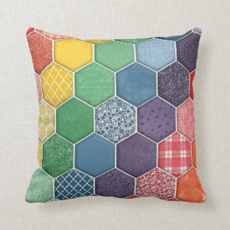 Rainbow Quilted Hexagon Throw Pillow
