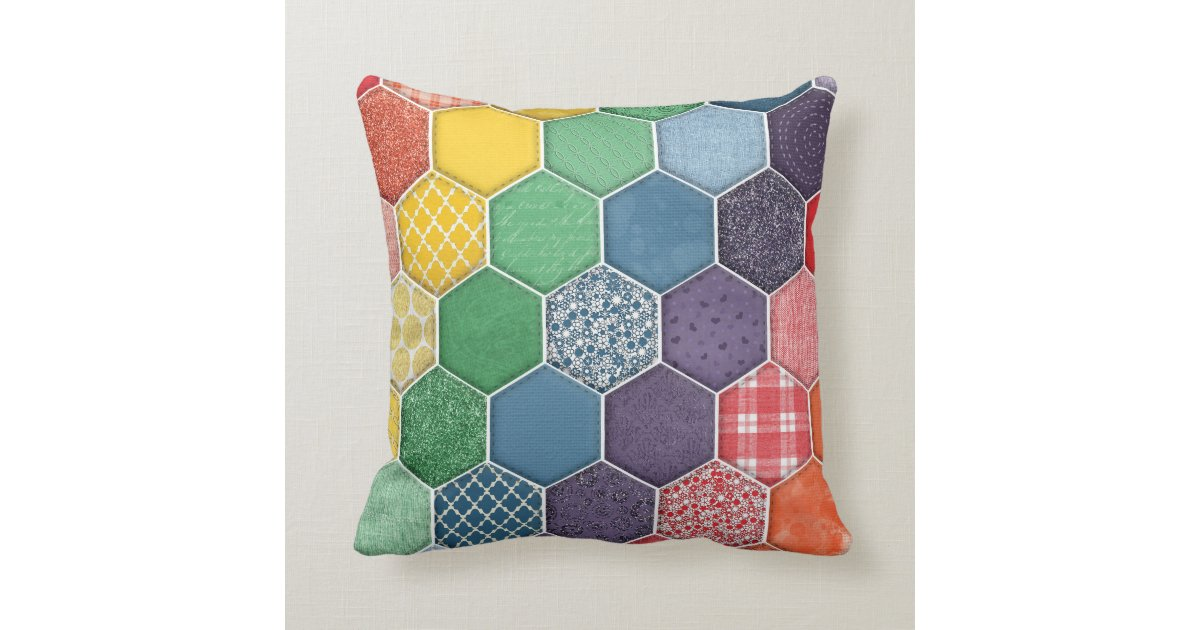 Quality Throw Pillows : Rainbow Quilted Hexagon Throw Pillow Zazzle