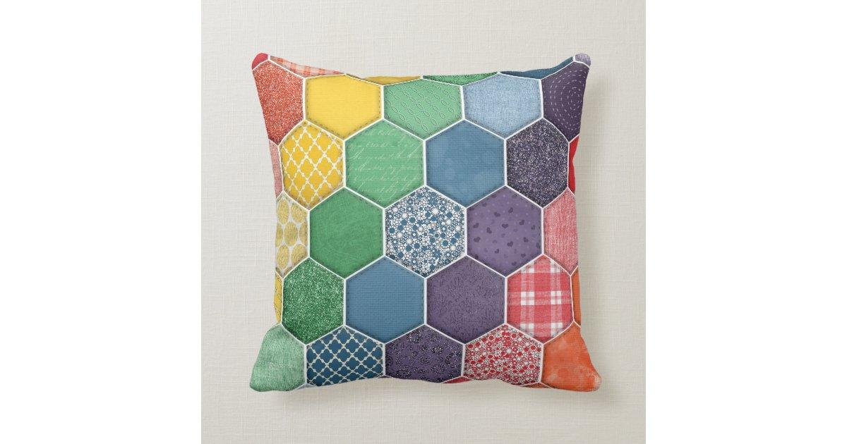 Quality Throw Pillows : Rainbow Quilted Hexagon Throw Pillow Zazzle