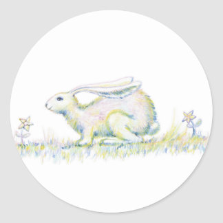 Rainbow Rabbit Classic Round Sticker