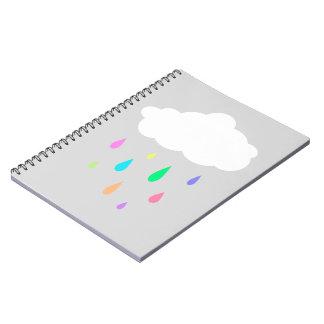 Rainbow Rain Cloud Spiral Notebook