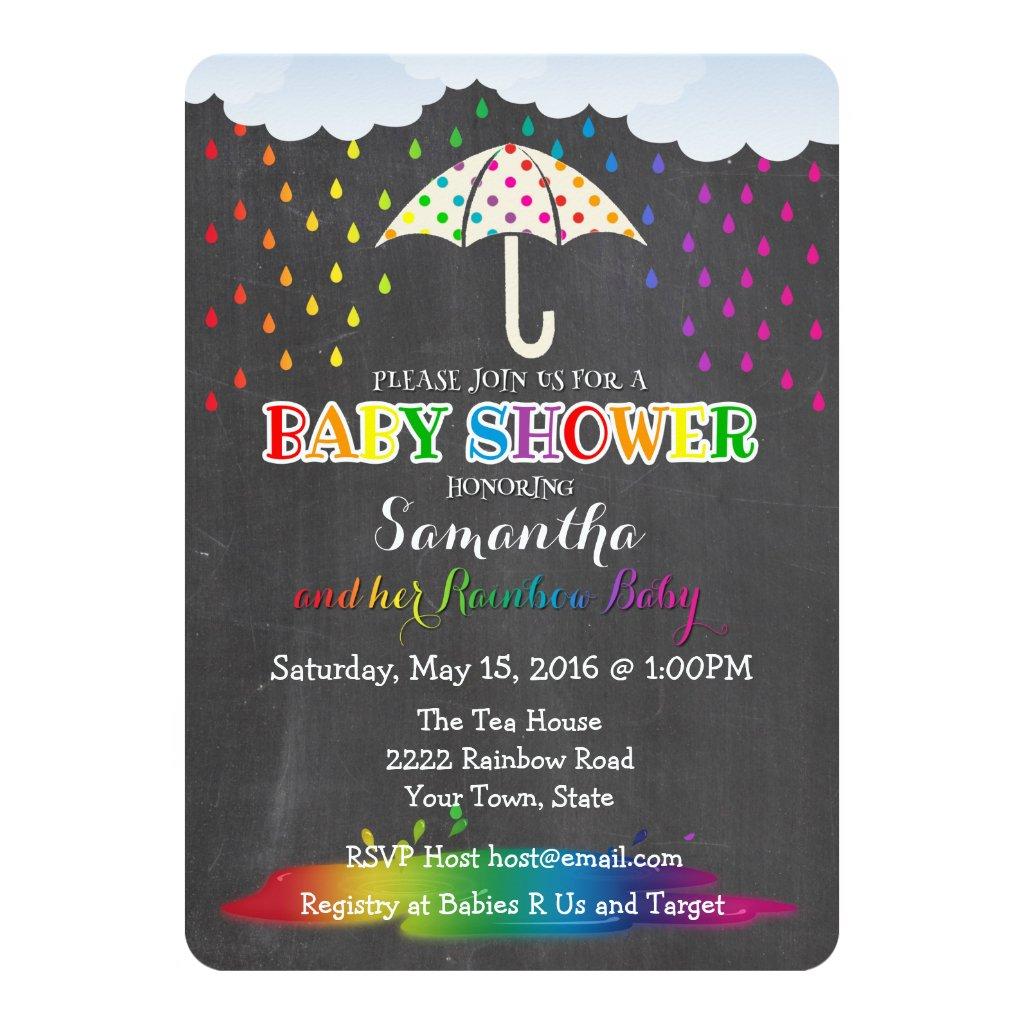 Rainbow Raindrops Baby Shower Invitation