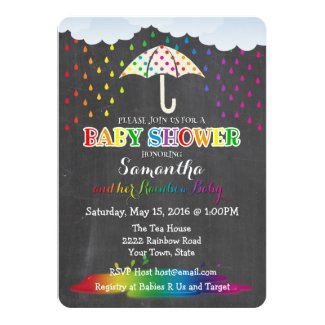 Rainbow Raindrops Baby Shower Invitation
