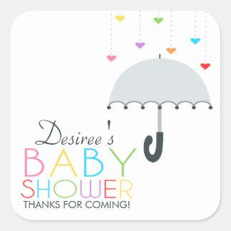 Rainbow Raindrops Gray Umbrella Baby Shower Square Sticker