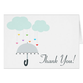 Rainbow Raindrops Gray Umbrella Shower Thank You Card