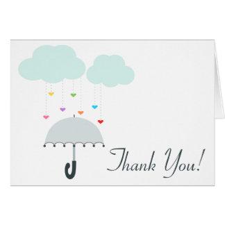 Rainbow Raindrops Gray Umbrella Shower Thank You Stationery Note Card