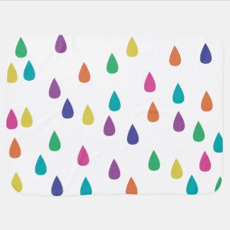 Rainbow Raindrops Receiving Blanket
