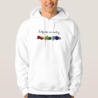 Rainbow rare sea glass, beach glass hoodie