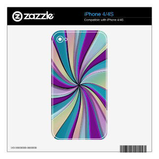 Rainbow Rays Psychedelic Swirl Phone Skin iPhone 4S Skins