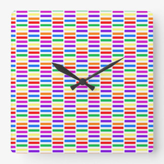Rainbow Rectangle Pattern Square Wallclocks