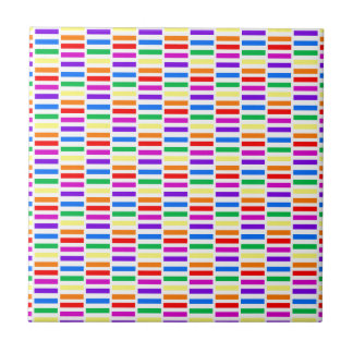 Rainbow Rectangle Pattern Small Square Tile