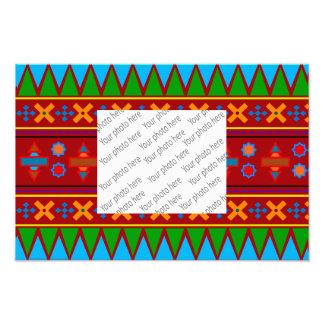 Rainbow red aztec tribal pattern art photo