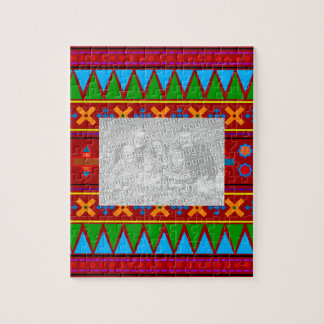 Rainbow red aztec tribal pattern puzzles