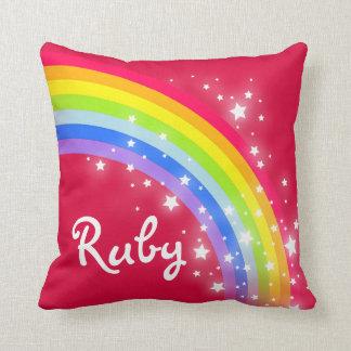 "rainbow red orange - girls ""your name"" pillow"