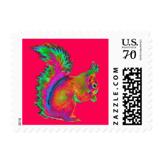 Rainbow Red Squirrel. Postage