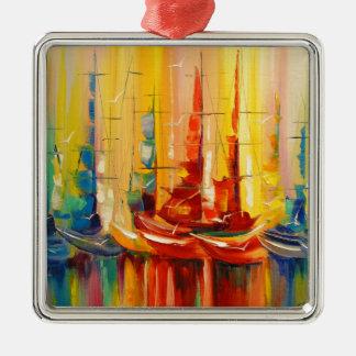 Rainbow Regatta Metal Ornament