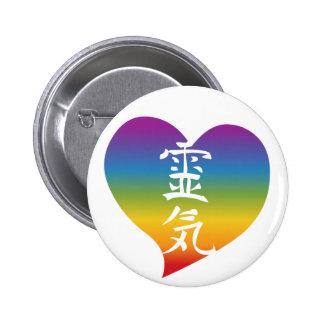 Rainbow Reiki Heart 2 Inch Round Button